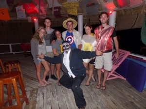 Staff and guests enjoying the Halloween Party at our Belize Private Island