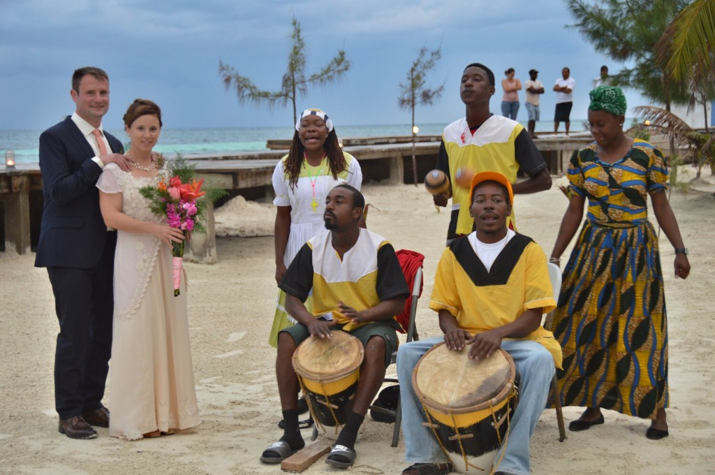 Local Garifuna drummers join in on the wedding festivities!