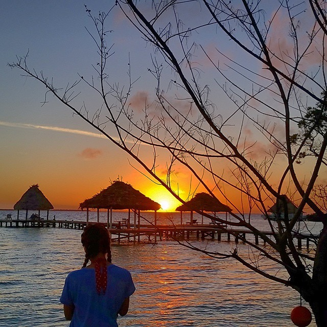 Sunrise at an all inclusive private island resort in Belize.