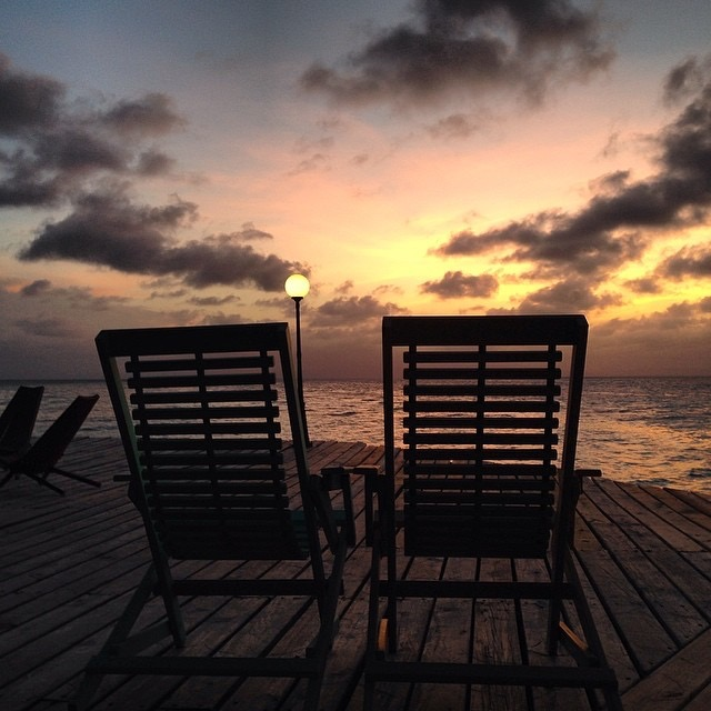 Chairs for two to watch a romantic sunset on a belize private island