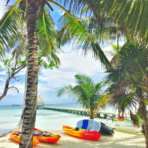 Kayak and paddle board on a Belize private island