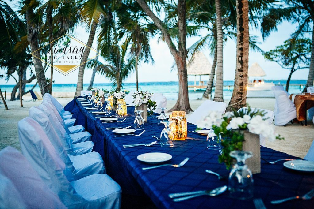David and Ashley's Belize wedding reception décor