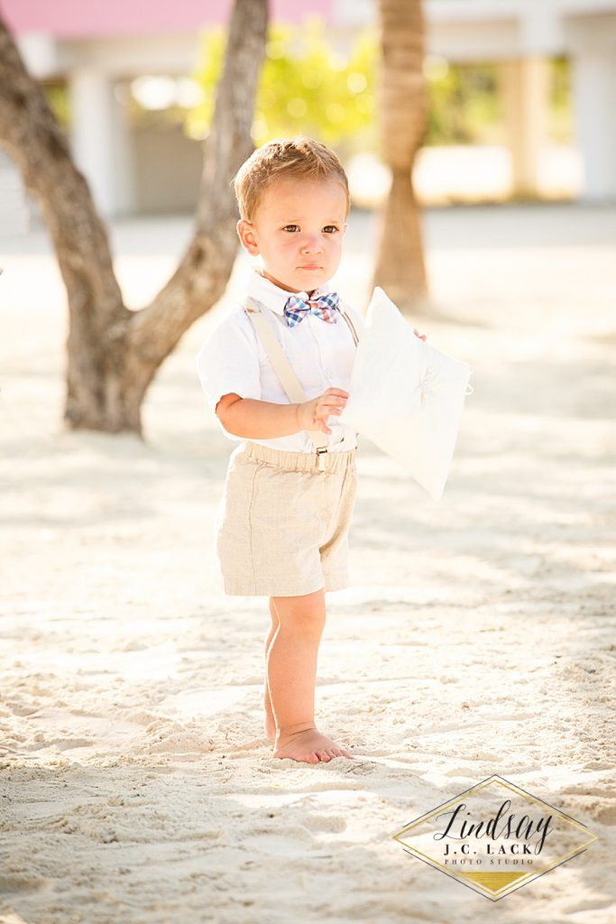Young ring bearer for David & Ashley's Belize Wedding