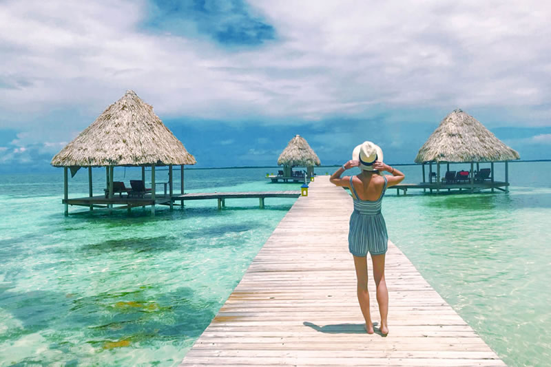 social distancing at a private belize island resort