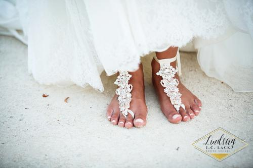 Ashley's beach wedding sandals